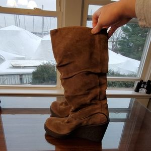 Aldo Brown Suede Slouch Wedge Boots Size 7